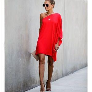 🆕Vici Red One Shoulder Dress